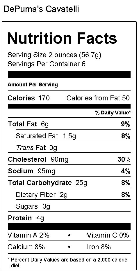 Cavatelli Nutrition Facts