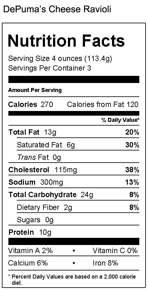 Gluten Free Cheese Ravioli Nutrition Facts