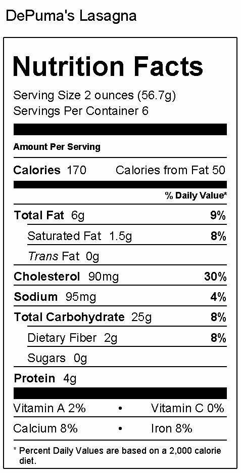 Lasagna Sheets Nutrition Facts