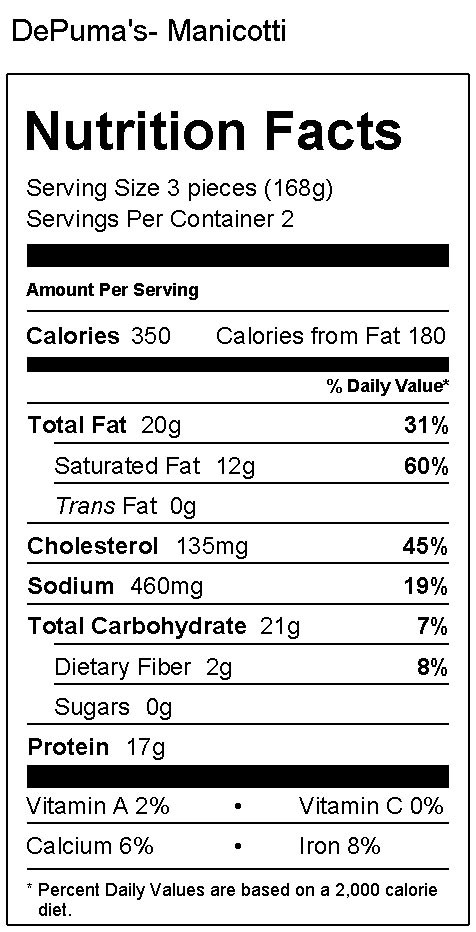 Cheese Manicotti Nutrition Facts