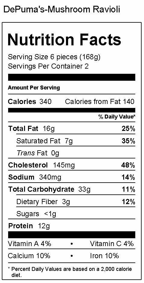 Wild Mushroom Ravioli Nutrition Facts
